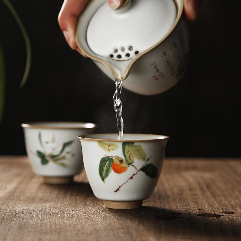 汝窯主人杯陶瓷小茶杯品茗杯單個茶碗個人杯功夫茶杯茶道茶具建盞1入