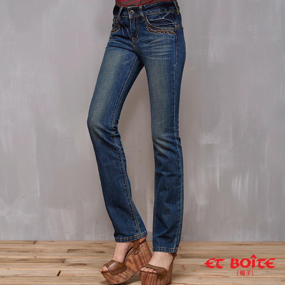 【經典丹寧限時↘990】LeJean繡花鉚釘顯瘦直筒牛仔褲 BLUE WAY  ET BOiTE 箱子 1