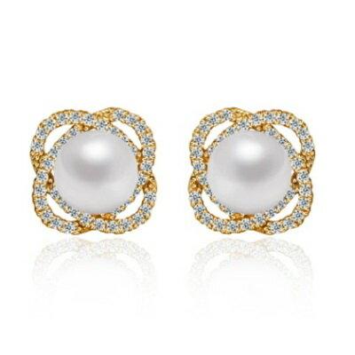 純銀耳環鍍白金鑲鑽耳飾~ 精緻耀眼迷人七夕情人節生日 女飾品2色73cr367~ ~~米蘭
