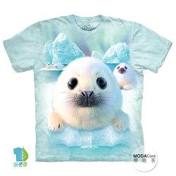 【摩達客】(預購) 美國進口The Mountain 雪球小海豹 純棉環保短袖T恤