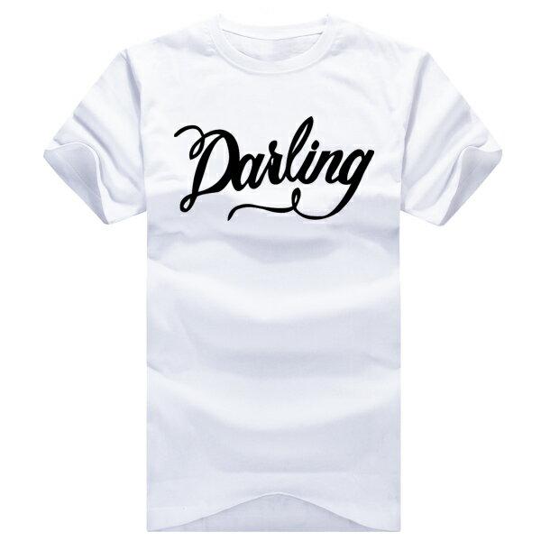 T恤 情侶裝 客製化 MIT台灣製純棉短T 班服◆快速出貨◆獨家配對情侶裝.草寫Darling【YC234】可單買.艾咪E舖 2