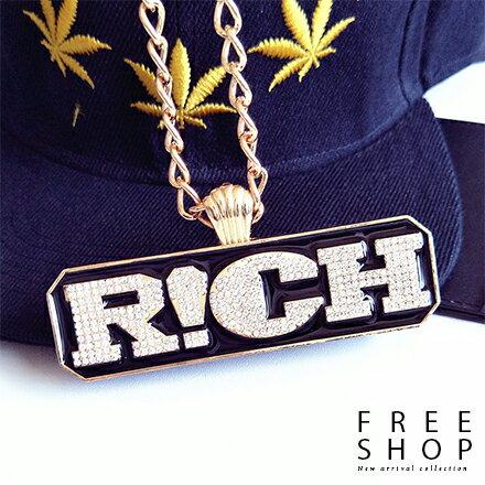 Free Shop 嘻哈RICH 吊鍊 HIPHOP項鍊項鏈 潮流 吊飾吊墜男女中性款~Q