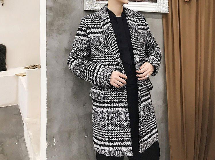 FINDSENSE G6 韓國時尚 復古千格毛呢大衣男中長款修身潮流帥氣呢子風衣外套