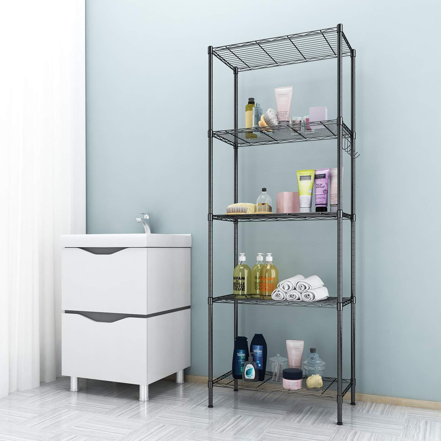 5-Tier Wire Shelving Storage Organizer Rack Adjustable Height with Side Hooks 1