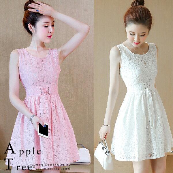 AT日韓-收腰繫帶純色無袖蕾絲洋裝3色【803046】
