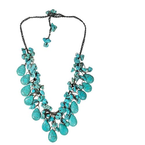Pretty Turquoise Drop White Pearl Wax Rope Necklace 0