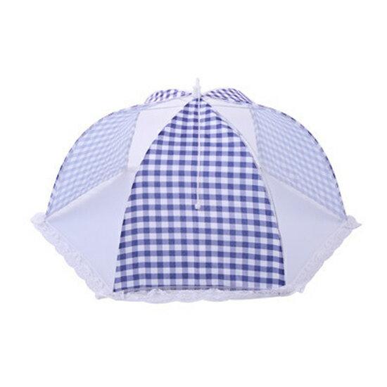 ?MY COLOR?格紋蕾絲圓型網紗罩 飯菜罩 餐桌 防蒼蠅 食物 水果 透氣蓋罩 野餐 摺疊【N201】