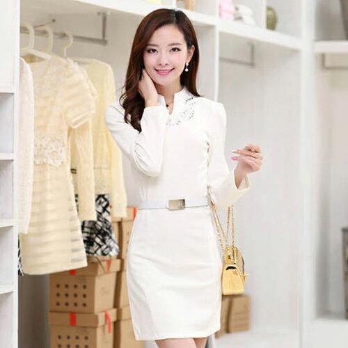 YJY OL立領貼鑽連衣裙^(含腰帶^)~女^~80152^~~2色