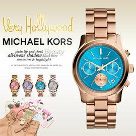 美國 Outlet 美國正品代購 Michael Kors MK 不鏽鋼 藍面 玫瑰金錶帶 三環計時日曆手錶腕錶 MK6164【輸入:coupon03 現折50】 0