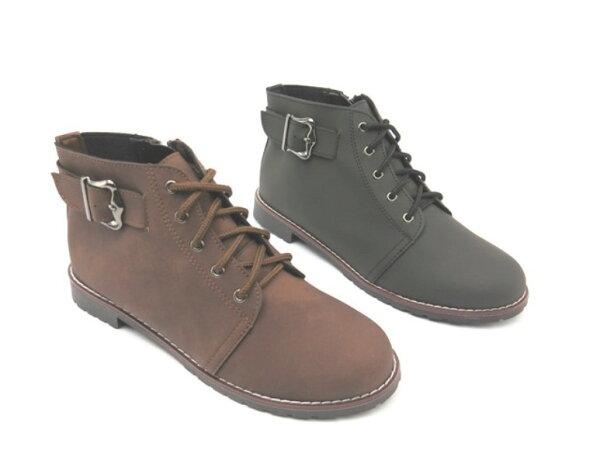 彩虹屋美鞋:*短靴*學院風鞋帶低跟短靴08-9968(黑咖啡)☆【彩虹屋】☆現+預