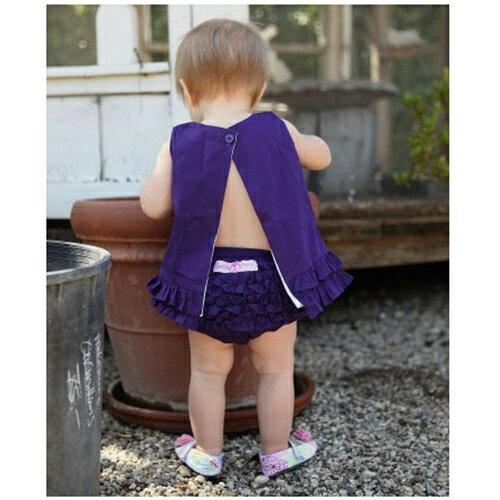 【HELLA 媽咪寶貝】美國 RuffleButts 小女童荷葉屁屁褲/包屁褲 深紫色 Woven (RBRBW03)