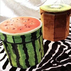 美麗大街【107031207】創意仿真水果收納盒凳子鳳梨西瓜木頭檸檬橘子奇異果