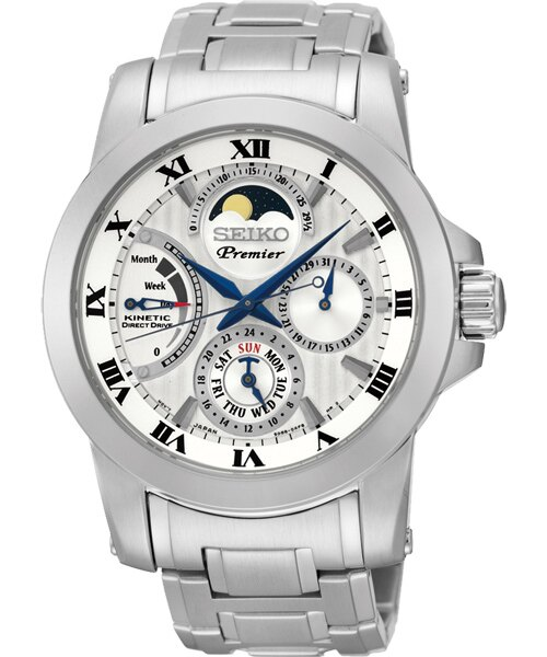 Seiko Premier 5D88-0AG0S(SRX011J1)人動電能萬年曆月相經典腕錶/白面41mm