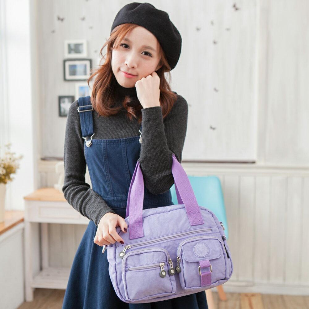 【TOPMAST毛線貓】防水手提肩背兩用包#1504(粉嫩紫)