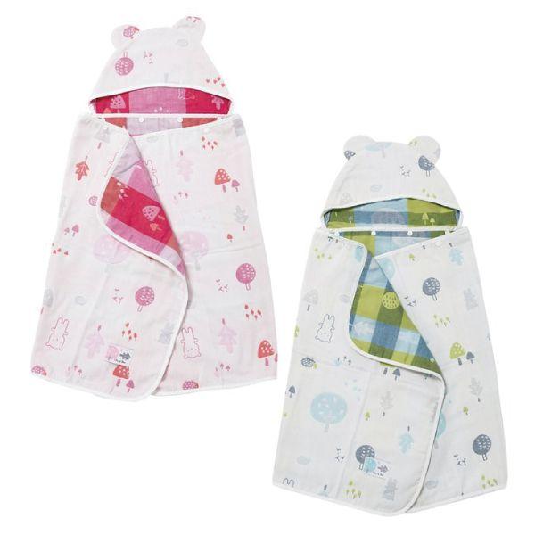 奇哥 森林家族四層紗浴包巾/浴巾/連帽浴巾(藍/粉)