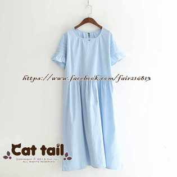 《貓尾巴》LZ-03278簡約甜美純色荷葉袖短袖連身裙(森林系日系棉麻文青清新)