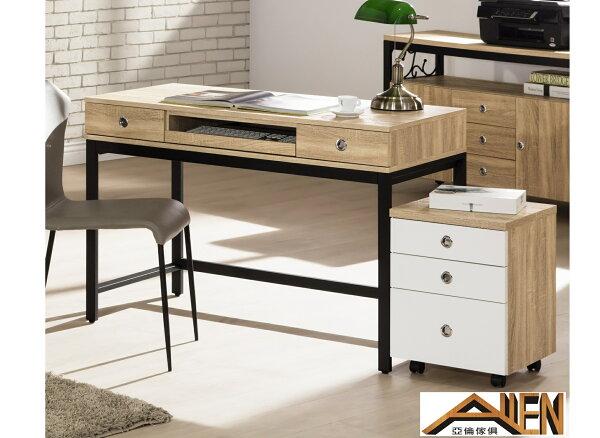 亞倫傢俱*尼克浮雕木紋4尺電腦桌組