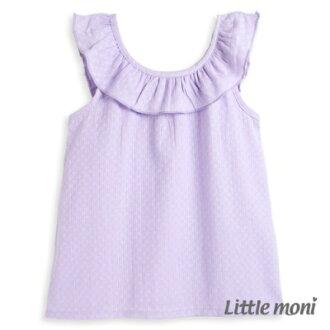 Little moni清甜荷葉女孩無袖襯衫-薰衣草紫