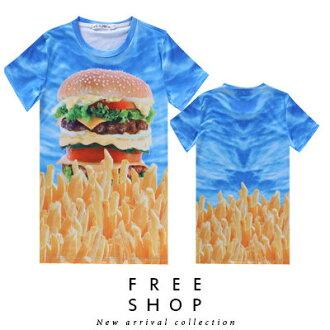Free Shop【QFSLY2227】日韓美式潮流滿版造型藍天漢堡薯條圓領棉質短T短袖上衣潮T