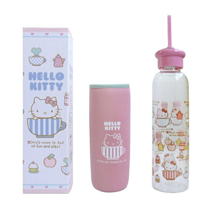 *朵菈傢飾* 新品 正版Hello Kitty耐熱玻璃水瓶附保溫潛水布套500ml-粉 凱蒂貓 KT 水壺 隨手杯 隨身杯 三麗鷗