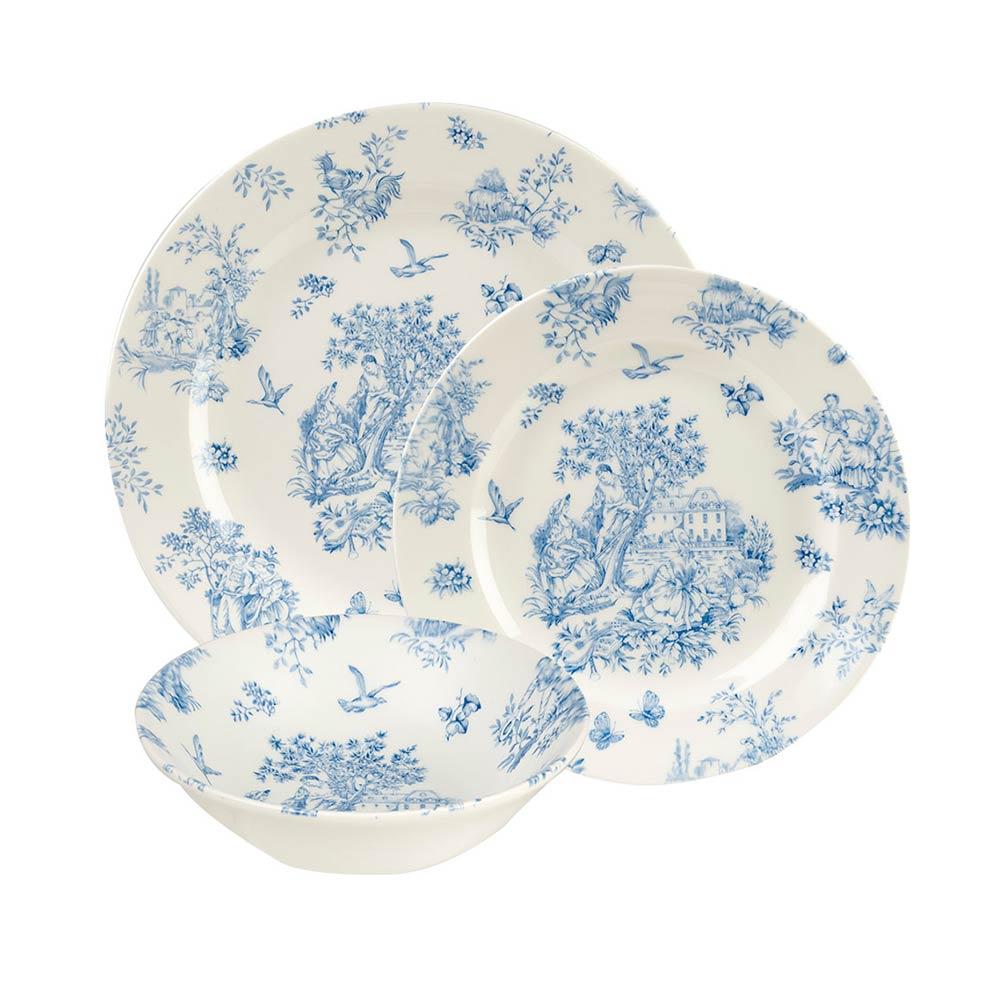 英國Churchill Queens 12件餐具組(淺藍色花園盛景-附原裝彩盒)