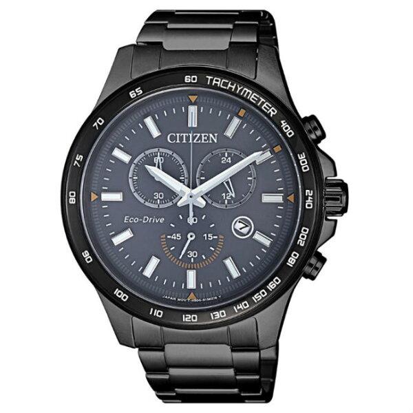 大高雄鐘錶城:CITIZEN星辰錶AT2425-80H運動風三眼光動能腕錶黑藍面42.5mm