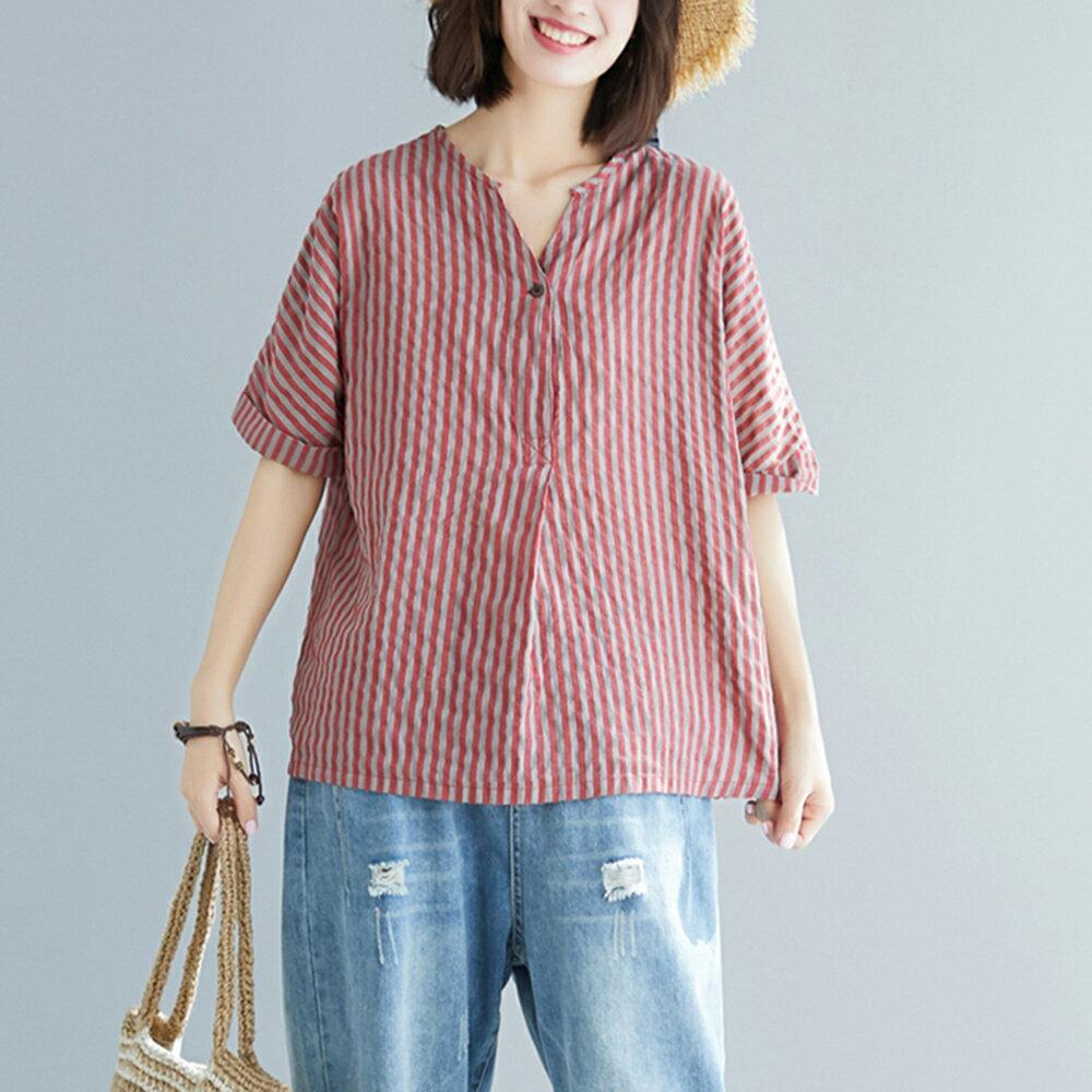 棉麻條紋大碼v領短袖襯衫(圖片色M~2XL)【OREAD】 - 限時優惠好康折扣