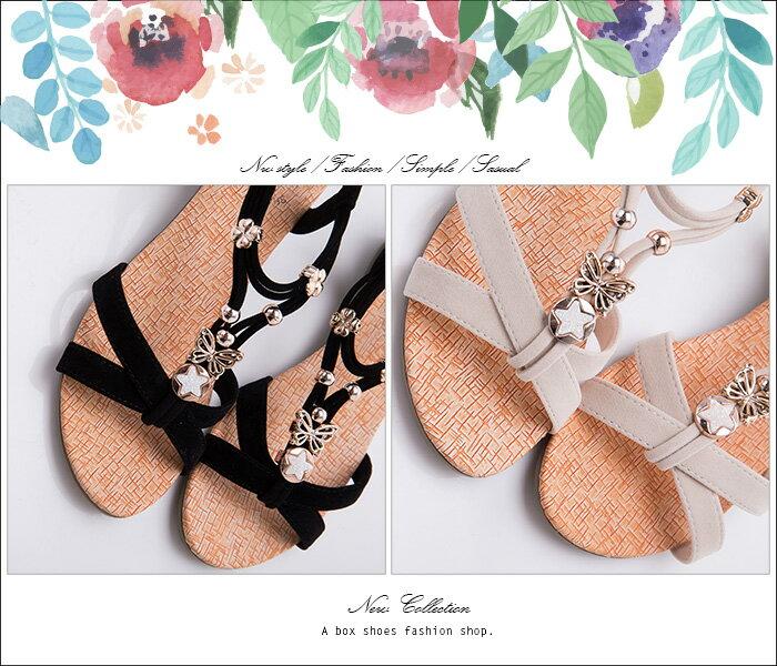 格子舖*【ANW1512】素面質感絨布金屬綴飾 3.5CM仿木紋楔型繞踝交叉涼鞋 2色 1