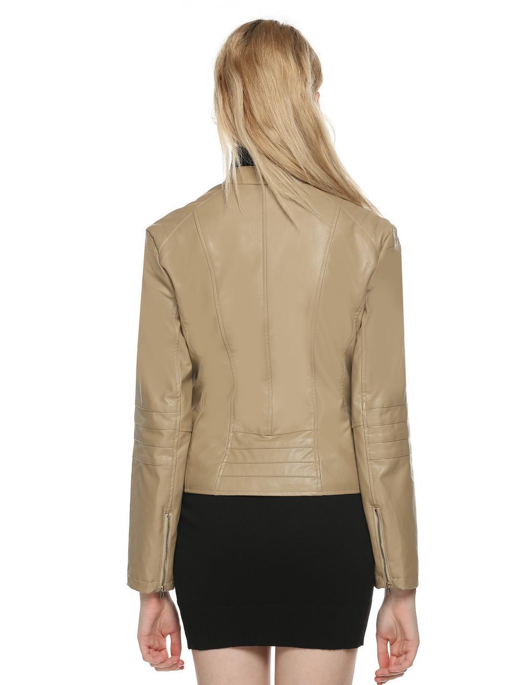Women Long Sleeve Synthetic Leather Casual Bike Jacket Short Coat 4