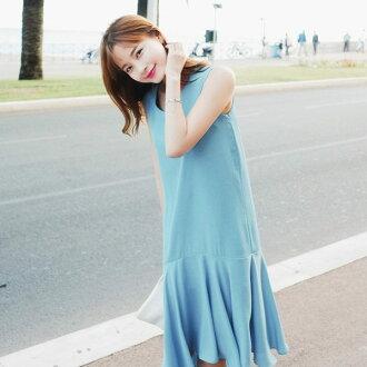 PS Mall學院風無袖顯瘦百褶連身裙 連身洋裝【T543】