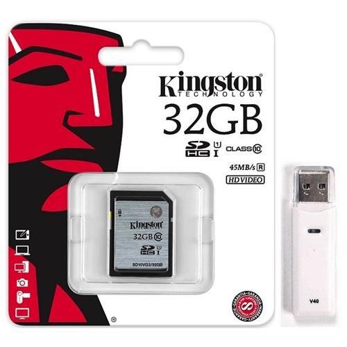 Kingston 32GB SDHC 45MB/s UHS-I U1 Class 10 32G SD C10 full HD Flash Memory Card SD10VG2/32GB + OEM USB 3.0 Card Reader