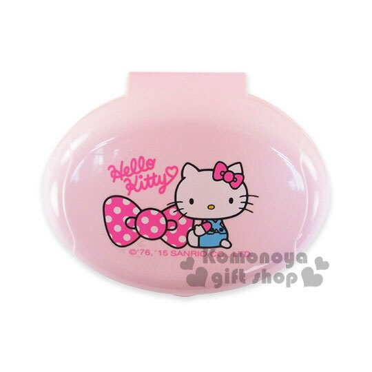 〔小禮堂〕Hello Kitty 肥皂盒《粉.坐姿.點點蝴蝶結》美化浴室空間