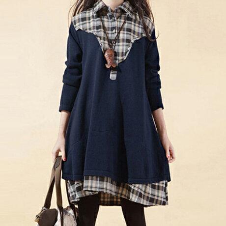 森系襯衫領格子拼接寬鬆連身裙 (4色,M~XXL) - ORead 自由風格