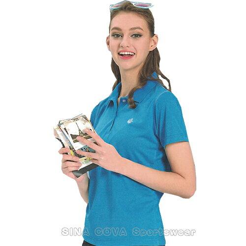 【義大利SINACOVA】女版運動休閒吸濕排汗短POLO衫-海藍條紋#SW8101A2