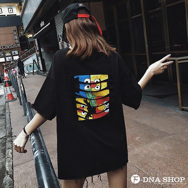 F-DNA★前英字後割破卡通圓領五分袖上衣T恤(3色-M-2XL)【ET12696】 6