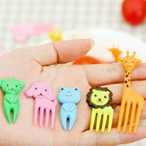 美麗大街【BF215E20E1】創意可愛童趣小動物迷你水果叉水果簽子小叉子套裝10只裝