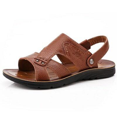涼鞋真皮拖鞋-戶外休閒清涼透氣男鞋子3色73sa12【獨家進口】【米蘭精品】