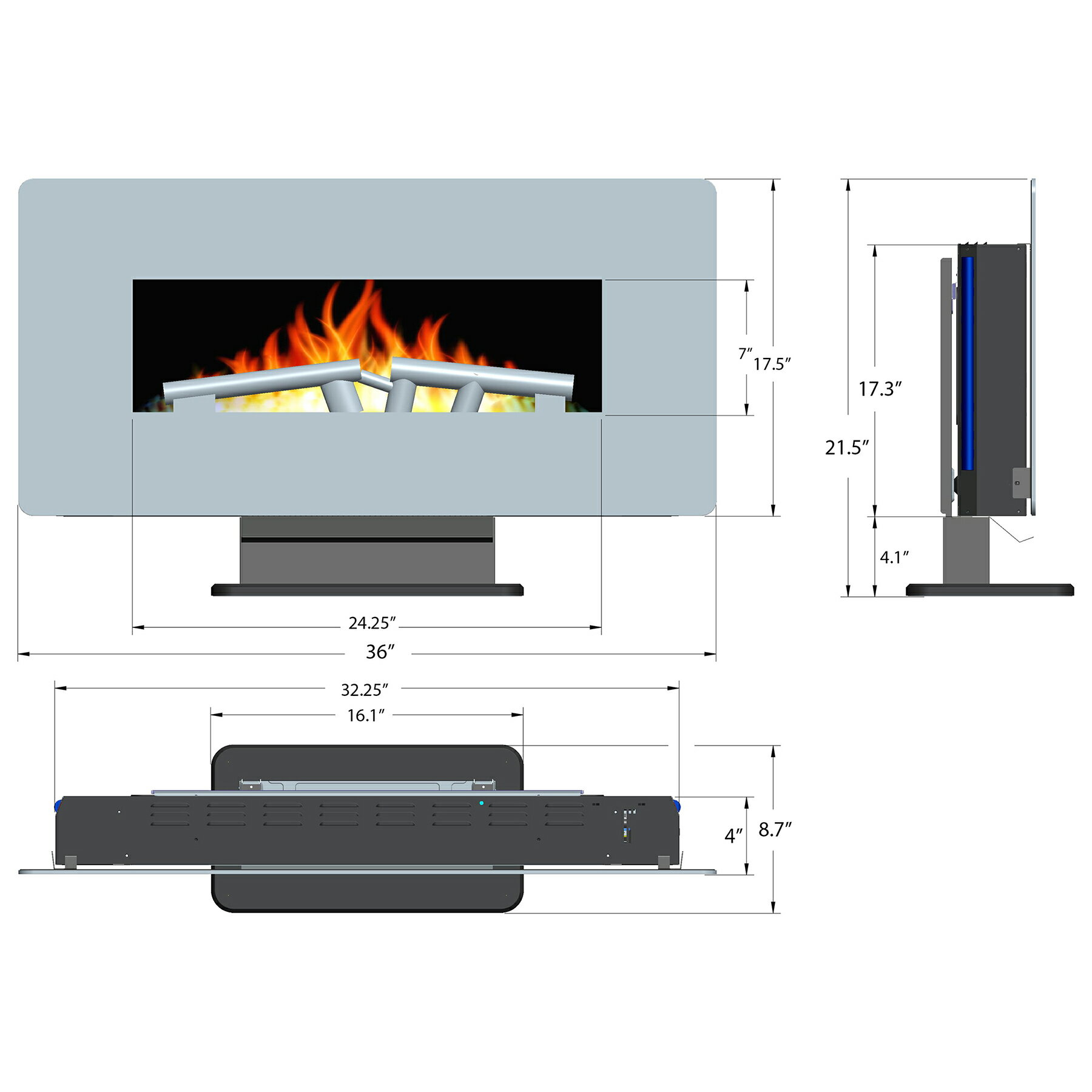 "AKDY 36"" 3-in-1 Fuel Bed Freestanding & Wall Mount Convertible Electric Electric Fireplace Stove Heater 1"