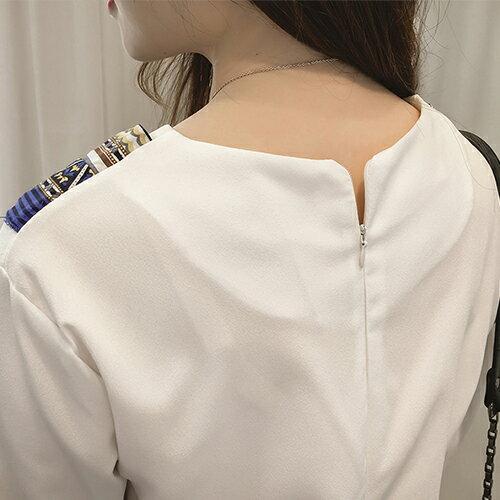 上衣  圓領圍巾綁帶後拉鍊七分袖T恤【29121】藍色巴黎 - 現貨 3