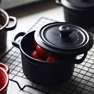 Metiga 南法風 雙耳附蓋鑄鐵鍋 造型陶瓷碗 MI1334