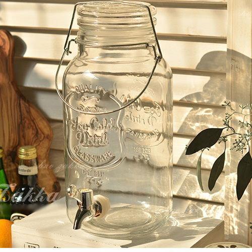 日式雜貨 復古清新浮雕刻字玻璃瓶冰桶啤酒桶4公升(適合野餐露營PARTY)