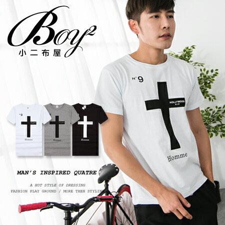 ☆BOY-2☆【JN6691】短袖T恤韓潮流素面十字架圖騰短T 0