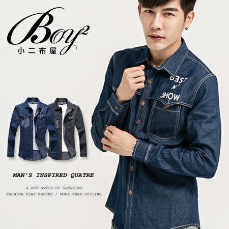 ☆BOY-2☆  【KK3521】 牛仔長袖襯衫修身印花口袋 0