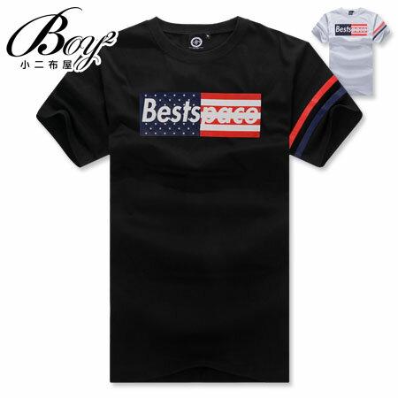 ☆BOY-2☆ 【KK4935】短袖T恤美式街頭潮流條紋BESTS印花短T 0