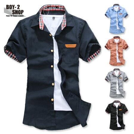 ☆BOY-2☆【NAA0001】內裏蘇格蘭紋皮標口袋短袖襯衫-5色 現+預 1