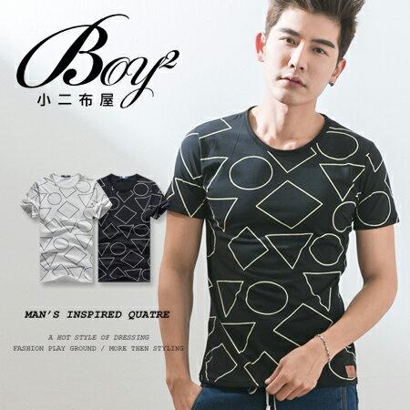 ☆BOY-2☆【NQTF005】短袖T恤簡約休閒線條圖形印花短T 0