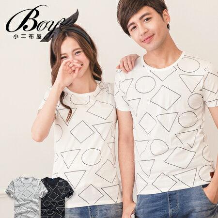 ☆BOY-2☆【NQTF005】情侶短袖T恤簡約休閒線條圖形印花短T 0