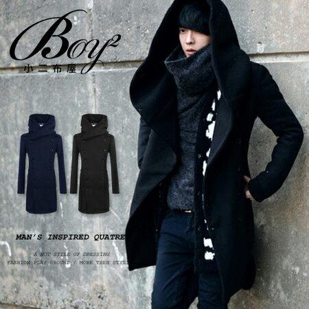 ☆BOY-2☆【NZ78014】長大衣韓風簡約毛呢素面雙排扣 1