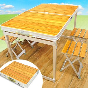 毛竹野餐折疊桌椅組合(露營1摺疊桌.休閒折合桌摺合桌.戶外折疊椅4摺疊椅.折合椅摺合椅.便利行動野營登山用品.推薦哪裡買)D001-632