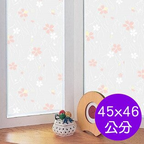 【零碼】日本MEIWA抗UV節能靜電窗貼(日式小花)-45x46公分